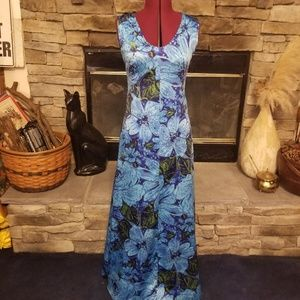 Vintage 60s Flower Power Maxi Dress Cruise Perfect